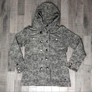 hurley knit black/white herringbone hooded jacket